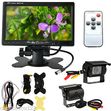 """7"""" LCD Car Rear View Monitor+ 2* Reverse Night Vision Camera Kit For Truck Bus"""