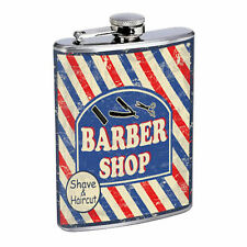 Vintage Poster D186 Flask 8oz Stainless Steel Barber Shop Shave & Haircut