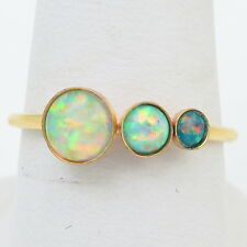 Handmade Vintage 14K Gold Filled Ring Size 6.75 with White and Green Fire Opals