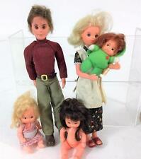 1974 Mattel Sunshine Family Steve Steffie Doll Set, All Orig + 3 Baby Bonus Vtg