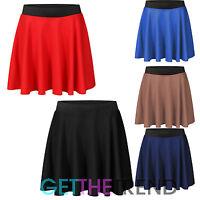 Womens Mini Ponte Elasticated Skater Skirt Flared Short Mini Black Skirt PNT