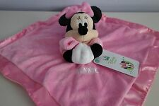 Disney Baby MINNIE MOUSE Security Blanket RATTLE Crinkle Ears Plush Satin PINK