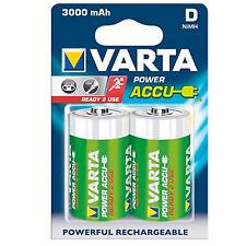 1 x 2er Pack Batteria Varta Mono-D NiMH 3000 mAh Nuovo
