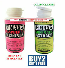 Raspberry Ketone & Green Tea Colon Cleanse Weight Loss Slimming Diet Pills FMax5