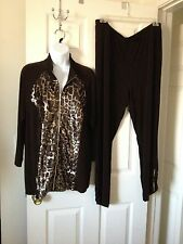 Chicos 2-pc Travelers Chocolate Chip Animal Sequin Jacket & Pants 3 = 16/18 NWT