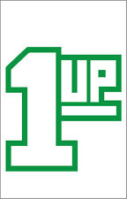 1 Up Quality Out Door Vinyl Sticker 1 Up 7x6 inch Extra Life, Video Games Green