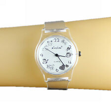 Women Lady Quartz Analog Wrist Watch White Transparent Plastic Band