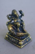"Small Reclining Brass Ganesh Statue on Conch Shell for Hindu Practice 1"" High"