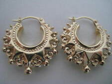 9ct yellow gold medium fancy creole hoop earrings PRICE DROP