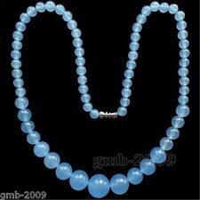 "6-14mm Natural Blue Aquamarine Round Gemstone Loose Beads necklace 18""AAA+"