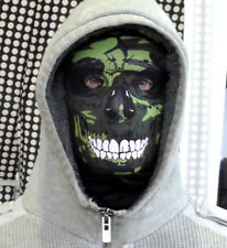 GREEN CAMO SKULL LYCRA FABRIC FULL FACE MASK FANCY DRESS PARTY