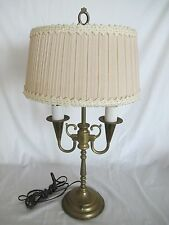 Mid-Century Brass Bouillotte Lamp 2 ARMS Original Shade WORKING