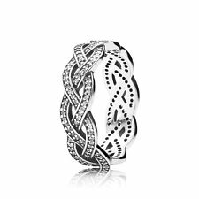 GENUINE AUTHENTIC PANDORA SILVER BRAIDED RING/ PLAITED RING 190913CZ SIZE 52