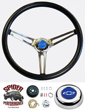 "1964-1965 Chevelle Malibu EL Camino steering wheel BLUE BOWTIE 15"" STAINLESS"