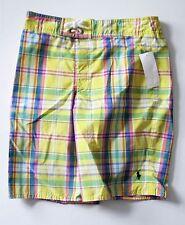 Ralph Lauren Boys Plaid Swim Trunk Yellow Plaid Sz M (10-12) - NWT