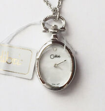 "Colibri Ladies Silvertone Pendant Watch with 24"" Necklace, Mother of Pearl Face"