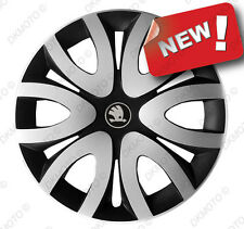 "4x15"" Wheel trims Wheel covers fit Skoda Rapid 15"" full set  silver/black NEW"