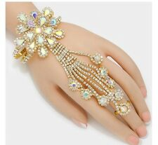 Ab Flower Crystal Rhinestone Slave Clear Ring Hand Chain Bracelet Gold Bridal