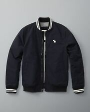 NEW  ABERCROMBIE FITCH X-SMALL XS BASEBALL NAVY WHITE HOODIE Men's Jacket AUTH