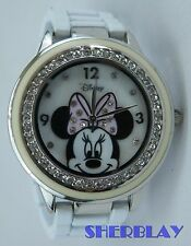 Women's Disney Minnie Mouse Watch Rhinestones Bling Accutime White Metal Band