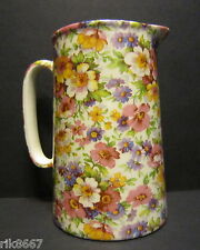 Heron Cross Pottery Summer Meadow (pink B/G) Chintz English 1 Pint Milk Jug