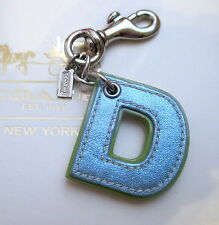 "Coach Leather Initial Alphabet Letter ""D"" D Key Fob Chain Keychain Charm"