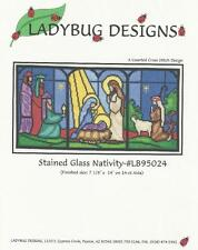 STAINED GLASS NATIVITY Counted Cross Stitch Pattern Manger Scene Baby Jesus
