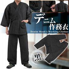 Japanese Traditional Clothing 4L working kimono SAMUE Denim Soft Black Monk Men