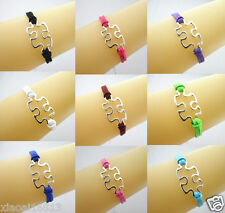 50pcs Silver Tone Puzzle Autism Charms Suede Cords Bracelet - Mix colors