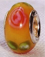 Yellow Pink Flower Murano Glass Lampwork Bead for Silver European Charm Bracelet