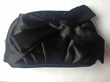 JOB-LOT(x4)SATIN Cosmetic OR,Wedding Small ClutchBAG.BLACK bow+Zip(Avon)Club?NEW