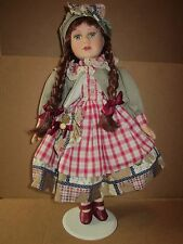 """Samantha Collection Porcelain Doll Braided Hair 16"""" Green Jacket Beret Red Plaid"""