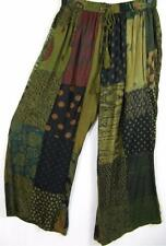 915P~TIENDA HO~Olive Green~HOBO BOHO PANTS~Mixed Rayon Patchwork~CLAM DIGGERS~OS