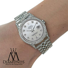 Diamond Rolex DateJust 16234 36mm Mother Of  Pearl Dial Stainless Steel Watch