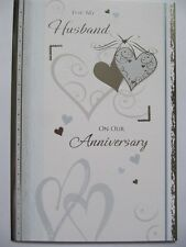 WONDERFUL COLOURFUL HEARTS FOR MY HUSBAND ON OUR ANNIVERSARY GREETING CARD