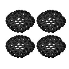 Waitress Elastic Nylon Black Net Bun Hair Covers Ornament 4 Pcs T1