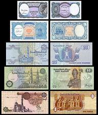EGYPT BANCONOTE EGITTO AUTENTICHE FDS LIRA EGIZIANA 5 10 25 50 PIASTRE 1 POUND