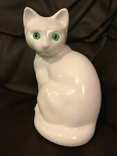 White Pottery China Cat with Green Glass Eyes Ornament