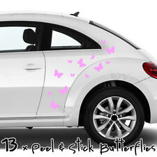 Butterfly Car Stickers in PINK, 13 Peel & Stick Butterflies, vinyl decal
