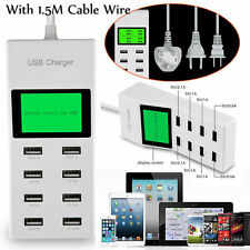 Multi-Ports 8 USB Charging Station Wall Home Charger Auto Detect Technology New