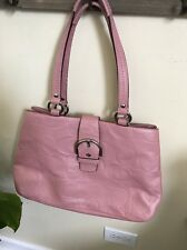 AUTHENTIC COACH SOHO TEXTURED LEATHER CARRYALL BAG PURSE F19448 Pink Leather