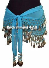 Exotic Belly Dance Hip Scarf w Beads & Coins, Turquoise