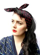 RED BLACK SPOT VTG 50s STYLE PIN UP HEAD SCARF ROCKABILLY INDIE GRUNGE 1950S