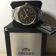 Orient Automatico Day_date Mm 36 W.r.5 Atm Blue Face  Raro Watch 98% Nuovo