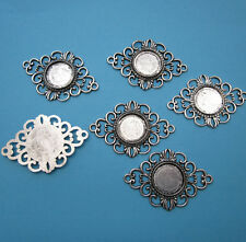 6 Antiqued Silver Color Filigree Cameos Base Bezel Settings For 18mm Cabochon
