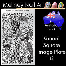 Konad Square Image Plate 12 for Stamping Nail Art Transfer Stencils Flower