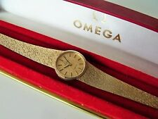 LADIES .375 9CT GOLD CAL.625 OMEGA GENEVE WRIST WATCH + GENUINE OMEGA BOX 28.6g