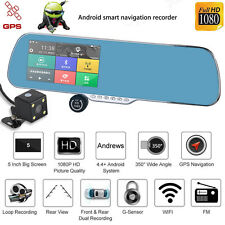 Android Dual Lens 5'' HD 1080P Car DVR GPS Navigation Rearview Mirror Camera