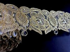9 meters gold diamante lace trim beads mirrors ribbon border craft edge width 3""