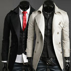 UK CHEAP~ Mens Stylish Casual Slim Fit Trench Coat Jacket Outerwear Tops Macs